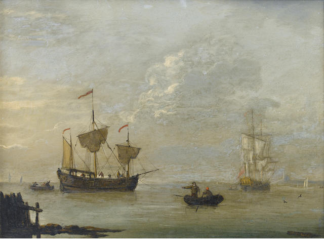 Francis Swaine (British, died 1782) Shipping in an estuary ??????