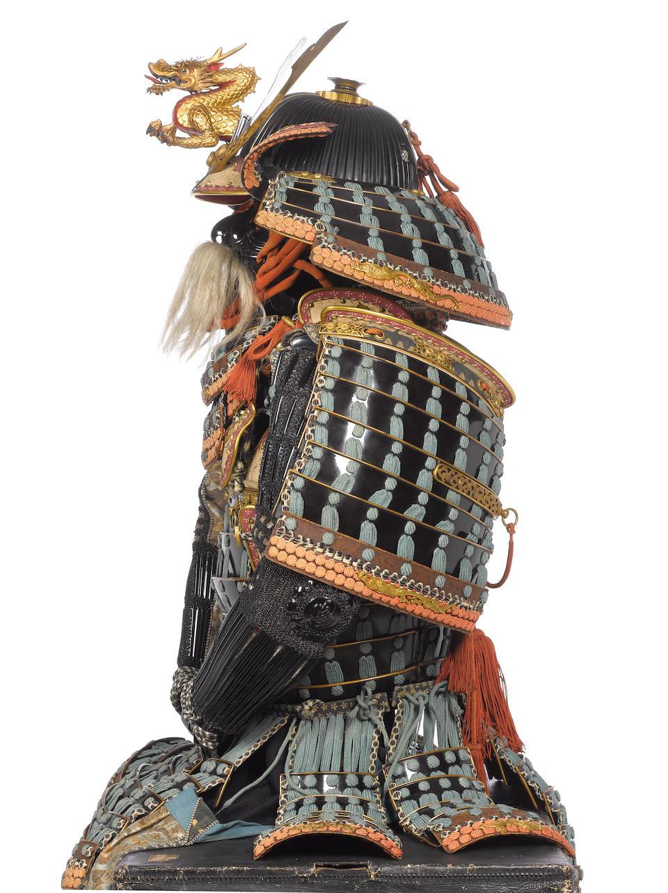 An exceptional mogami do tosei gusoku armour Edo Period, 18th to 19th century; helmet signed Myochin...Naga, late Muromachi/early Momoyama Period, 16th century