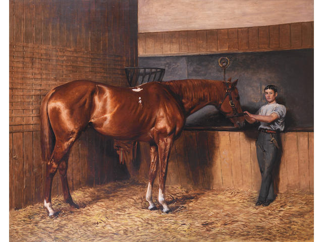 Charles Augustus Henry Lutyens (British, 1829-1915) 'Avontes' and groom in a stable interior