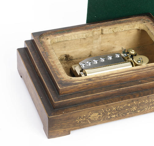 A musical lock/trophy base, period case circa 1880, later Orpheus movement by Sankyo,
