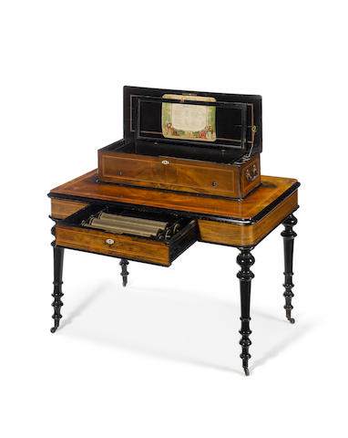 A late 19th Century burr walnut and ebonised interchangeable cylinder musical box, by Palliard, Vaucher et Fils, Geneva, c.1890
