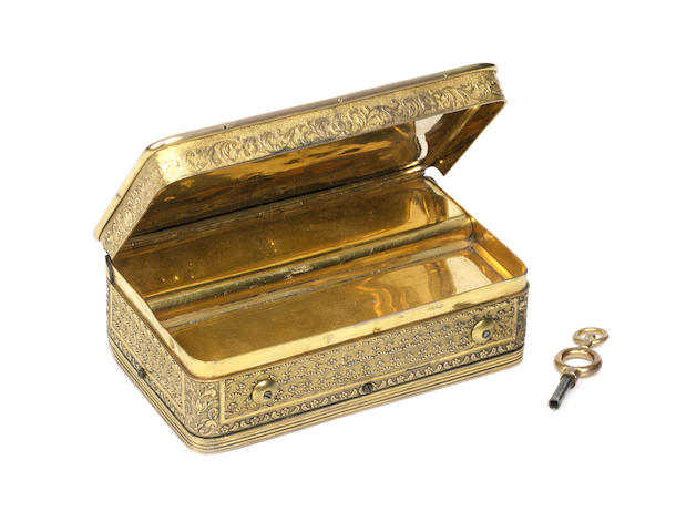 A good silver-gilt musical snuffbox, playing two airs, circa 1830, Swiss movement, French casework by Doublé, in the style of Jean-Georges Rémond,