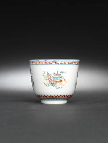 A famille rose 'bajixiang' cup Iron-red Tongzhi four-character mark and of the period