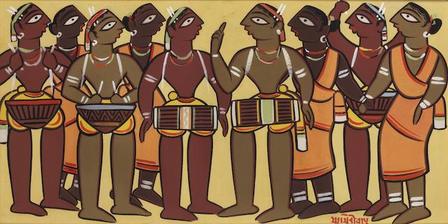Jamini Roy (India, 1887-1972) Santhal Drummers,