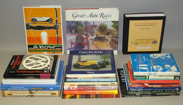 Books relating to motoring art and automobilia,