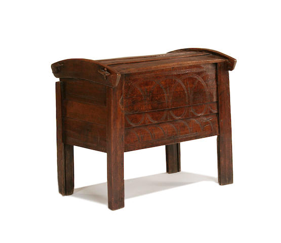 An unusual 17th Century cherrywood dough bin, Scandinavian