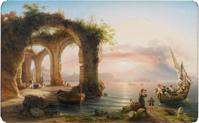Eduard Agricola (German, 1800-1848) The bay of Naples from Posillipo