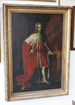 After Sir Godfrey Kneller, 18th Century Portrait of a Duke in Peer's robes, standing full length