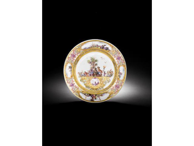 A very rare Meissen circular dish circa 1735
