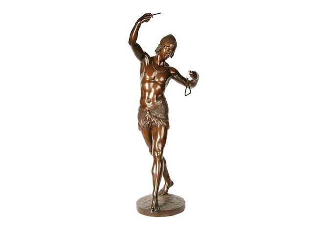 Baron Charles-Arthur Bourgeois (French, 1838-1886): A bronze figure of an Egyptian male dancer