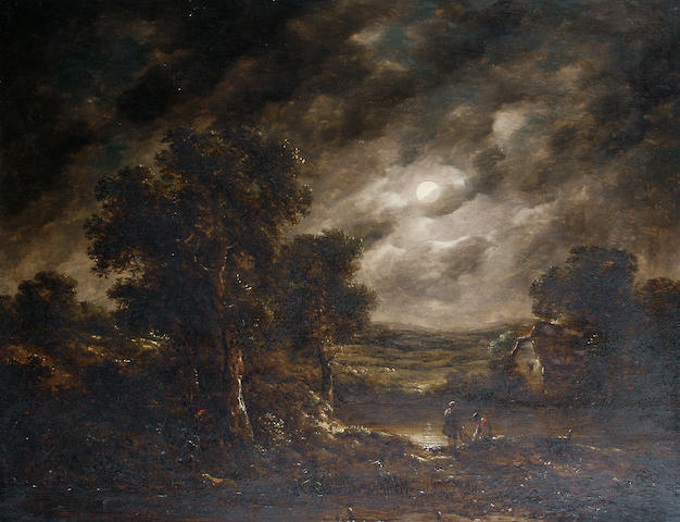 Attributed to Richard H. Hilder (British, 1813-1852) Fishermen checking their nets by moonlight