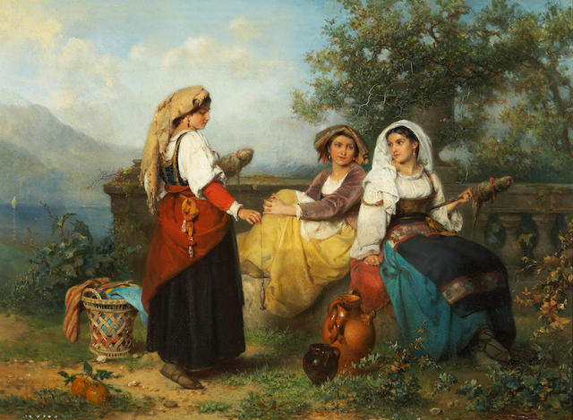 Karel Frans Philippeau (Dutch, 1825-1897) Three young maidens spinning wool