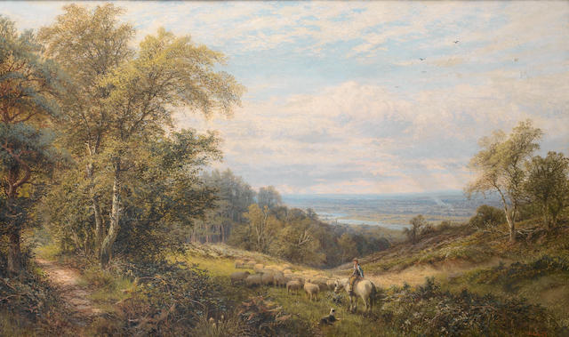 Alfred Augustus Glendening (British, 1840-1921) A view of Bostall Heath, with a view of the Thames