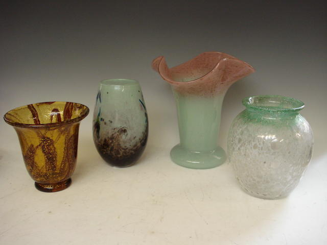 Four Scottish glass vases Early 20th century