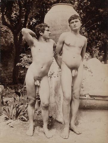 Baron Wilhelm von Gloeden (German, 1856-1931) Three Nude Studies, Taormina, Sicily, c. 1900