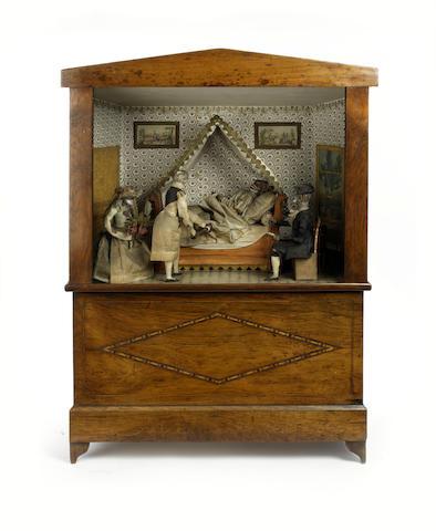 A twenty-key barrel organ, with quaduple monkey automaton, circa 1850,