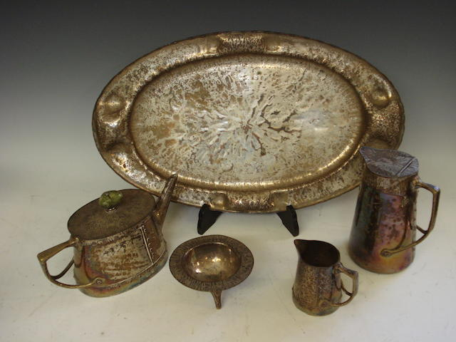 A plated Arts & Crafts tea service on tray Early 20th century