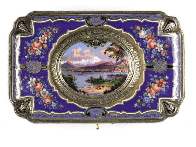 An important silver-gilt and enamel singing bird box by Charles Bruguier, circa 1840, reputedly the former property of an Austrian nobleman,