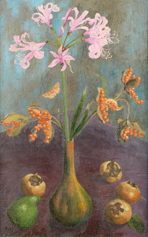 Sir Cedric Morris (British, 1889-1982) Still life with pear and lillies 63 x 39.3 cm (24 3/4 x 15 1/2 in.)