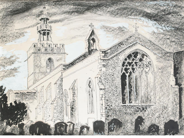 John Piper C.H. (British, 1903-1992) monochrome church 48 x 66 cm. (19 x 26 in.)