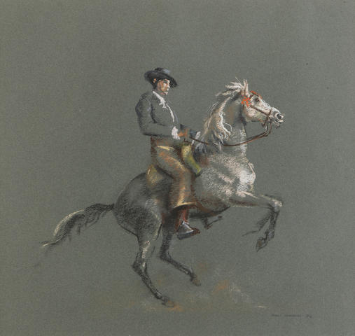 John Skeaping, Spanish Horseman, signed and dated 76, chalks on grey paper, 45 x 47.5cm