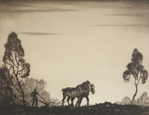 Robert Houston, RSW (British, 1891-1942) 'Ploughing'