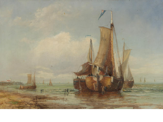 Follower of Sam Bough, Fishermen working on Vessels Ashore, bears signature, oil on canvas, 30 x 44cm