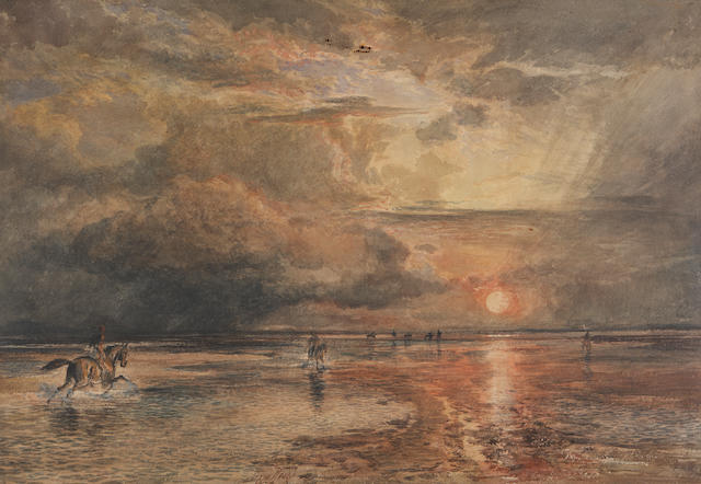 Sam Bough, Salmon Spearing on the Solway, signed and dated 1875, watercolour with scratching out, 40 x 59cm