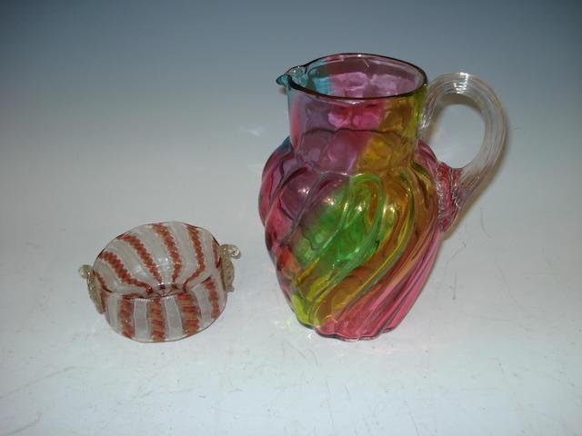 A Venetian latticino glass bowl Early 20th century