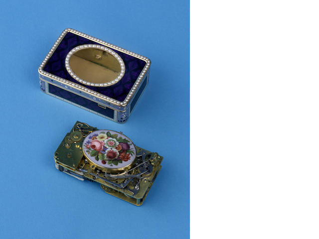 An important and fine gold, enamel and split seed-pearl oiseau chantant with timepiece,  Frerés Rochat, in the manner of Jaquet-Droz, the case by Jaques-Dauphin Moulinie, circa 1795,