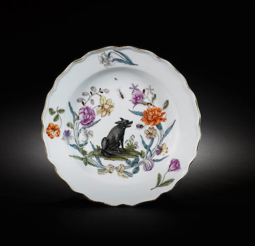 A rare Meissen plate from the 'Hanbury Williams / Duke of Northumberland' service circa 1748-50