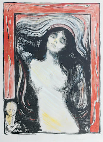 "Edvard Munch (Norwegian, 1863-1944) Madonna A very rare and early hand-coloured impression of the first state. Printed with excellent contrasts and clarity, before the reduction of the head of the foetus; reduced for later editions and before the additional shading on the Madonna's right arm. Coloured in vivid red, yellow, blue, orange, green and white. Signed ""E Munch"" and dated 1895 in pencil lower right, on firm, cream wove paper, with margins; 600 x 440mm (23 5/8 x 15 3/4in)(I) 696 x 518mm (27 3/8 x 20 3/8in)(SH)"