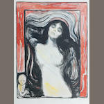 Edvard Munch (Norwegian, 1863-1944) Madonna A rare, extensively hand coloured impression of the first of seven, signed and dated 1895 in pencil lower right, on firm, cream wove paper, with margins; 600 x 440mm (23 5/8 x 15 3/4in)(I) 696 x 518mm (27 3/8 x 20 3/8in)(SH)