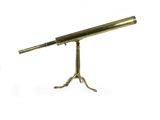 A Matthew Berge 2 1/4-inch brass refracting telescope on stand,  English, early 19th century,