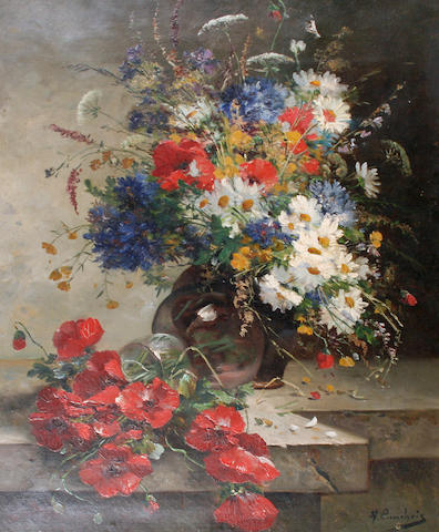 Eugène Henri Cauchois (French, 1850-1911) Still life of summer flowers