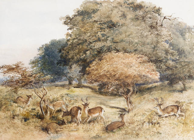 Attributed to Charles Harvey Weigall, NWS (British, 1794-1877) Richmond Park, Surrey