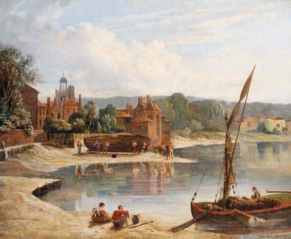 Attributed to Caleb Robert Stanley (British, 1795-1868) The Thames at Twickenham