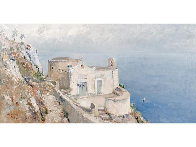 Giuseppe Casciaro (Italian, 1863-1945) A church, Capri