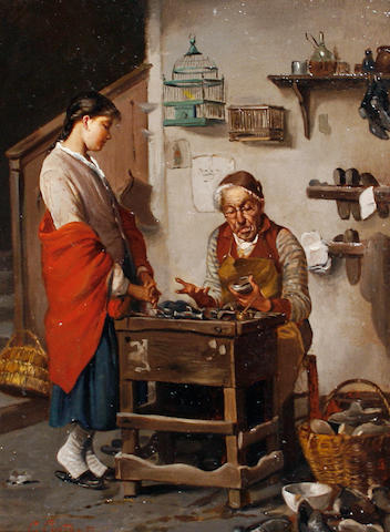 Giuseppe Costantini (Italian, 1844-1894) The shoemaker