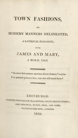 MACNEILL (HECTOR)] Town Fashions, or Modern Masters Delineated, a Satirical Dialogue; with James and Mary, a Rural Tale