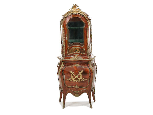 A French late 19th century gilt metal mounted kingwood and polychrome decorated display cabinet
