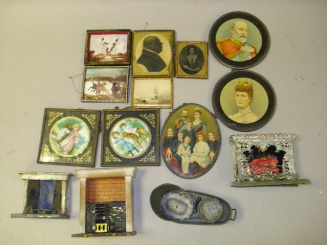 Collection of miniature framed dolls house pictures lot