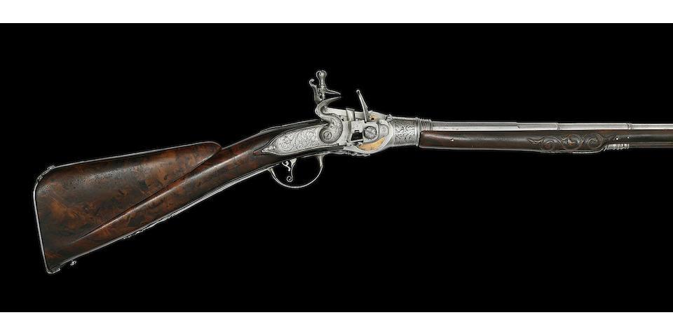 A Fine And Rare Italian 40-Bore Flintlock Breech-Loading Repeating Magazine Gun On The So-Called 'Lorenzoni' System