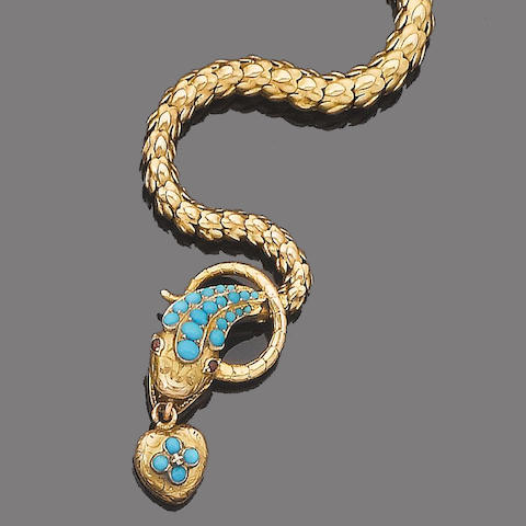 A 19th century ruby and turquoise snake bracelet