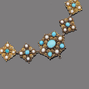 A gold cannetille, turquoise and half-pearl necklace,
