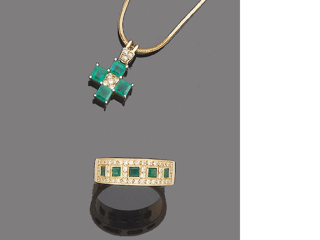 An emerald and diamond pendant and ring (2)