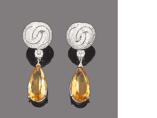 "A pair of citrine and diamond ""night and day"" pendent earrings"