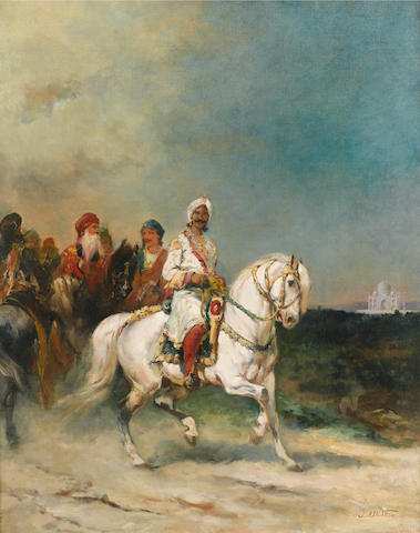 James Alexander Walker (British, 1841-1898) A Maharaja on a White Horse  36.3 x 28.7 in.