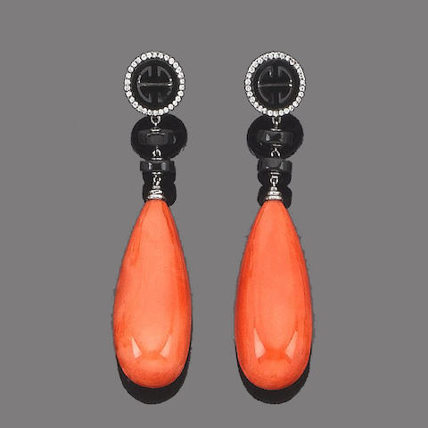 A pair of coral, jade and diamond pendent earrings
