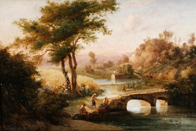 Giuseppe Palizzi (Italian, 1812-1888) Landscape with figures on a bridge